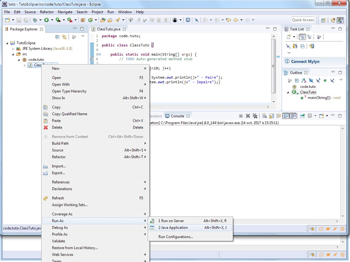 Eclipse exécution premier programme Java - miaffo.net - Tutoriels ESB