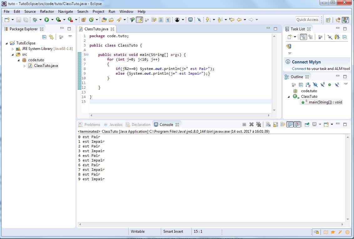 Eclipse println - Premier programme Java - miaffo.net - Tutoriels ESB