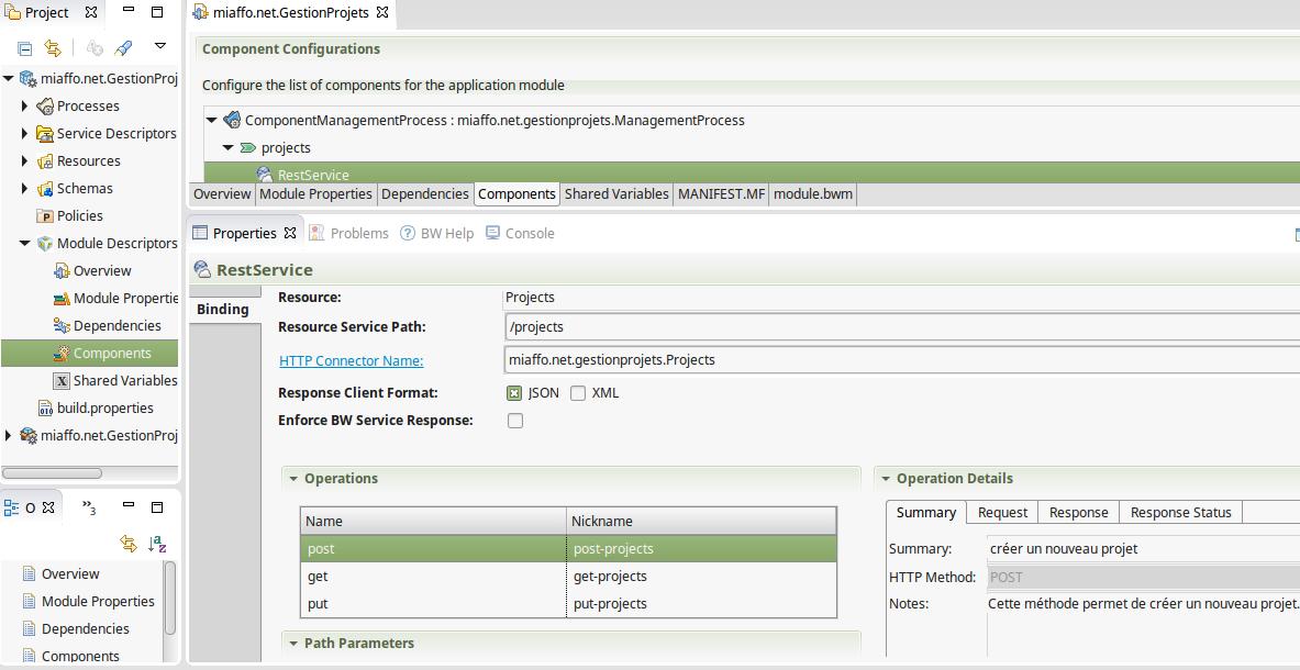 Créer un projet REST TIBCO - Configuration du component