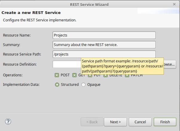 Create REST Service - Configuration ressource