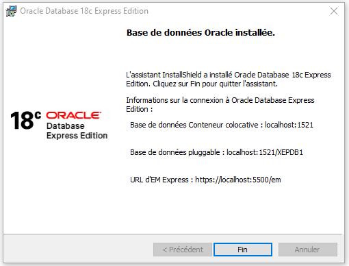 Installer Oracle database