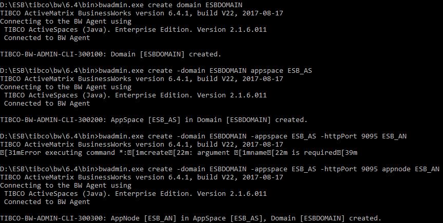 Exemple de création: Domain, Appspace, AppNode